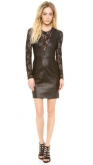 Diane von Furstenberg Kameela Leather Dress with Lace at Shopbop