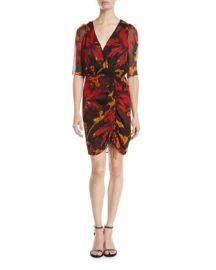 Diane von Furstenberg Kelda Floral Ruched Half-Sleeve Dress at Neiman Marcus