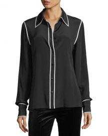 Diane von Furstenberg Long-Sleeve Button-Front Collared Silk Blouse at Neiman Marcus