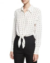 Diane von Furstenberg Long-Sleeve Dotted Front-Tie Shirt  White at Neiman Marcus