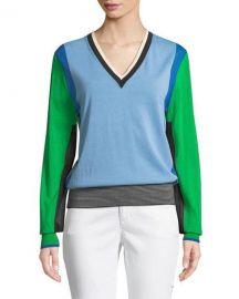 Diane von Furstenberg Long-Sleeve V-Neck Colorblock Pullover at Neiman Marcus