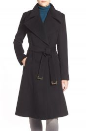 Diane von Furstenberg Long Wool Blend Wrap Coat at Nordstrom