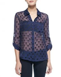 Diane von Furstenberg Lorelei Star-Embellished Sheer Blouse at Neiman Marcus