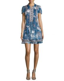 Diane von Furstenberg Marisa Beads-Print Babydoll Dress at Neiman Marcus