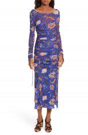 Diane von Furstenberg Mesh Overlay Floral Midi Dress at Nordstrom