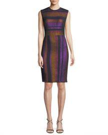 Diane von Furstenberg Metallic-Stripe Sleeveless Sheath Dress at Neiman Marcus