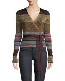 Diane von Furstenberg Metallic Striped Wrap Sweater at Neiman Marcus