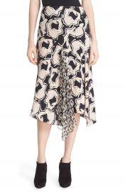 Diane von Furstenberg Posey Ruffle Detail Print Drop Yoke Skirt at Nordstrom