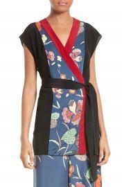Diane von Furstenberg Print Stretch Silk Wrap Kimono Top at Nordstrom