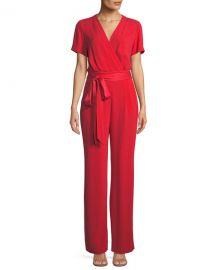 Diane von Furstenberg Purdy New Tie-Waist Wrap Jumpsuit at Neiman Marcus