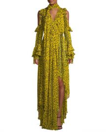 Diane von Furstenberg Ruffle Long-Sleeve Printed High-Low Maxi Dress at Neiman Marcus