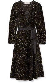 Diane von Furstenberg Satin-trimmed metallic flocked chiffon wrap dress at Net A Porter