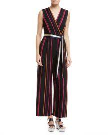 Diane von Furstenberg Sleeveless Crossover Wide-Leg Striped Jumpsuit at Neiman Marcus