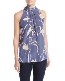 Diane von Furstenberg Sleeveless High-Neck Floral-Print Blouse at Neiman Marcus