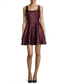 Diane von Furstenberg Sleeveless Minnie Midnight Kiss A-Line Dress OxbloodBlack at Neiman Marcus