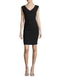 Diane von Furstenberg Sleeveless V-Neck Asymmetric-Seamed Dress Black at Neiman Marcus