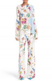 Diane von Furstenberg Slit Sleeve Print Stretch Silk Blouse at Nordstrom