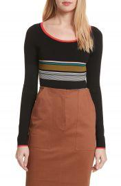 Diane von Furstenberg Stripe Knit Bodysuit at Nordstrom