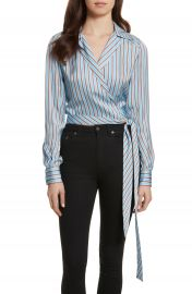 Diane von Furstenberg Stripe Wrap Top at Nordstrom