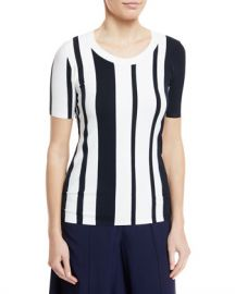 Diane von Furstenberg Striped Scoop-Neck Pullover Top at Neiman Marcus