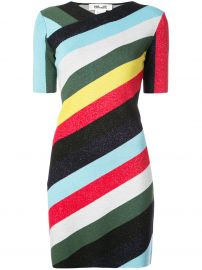 Diane von Furstenberg V-neck metallic striped dress at Farfetch
