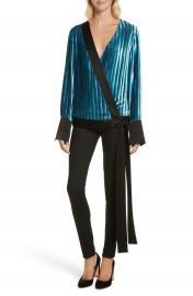 Diane von Furstenberg Velvet Stripe Blouse at Nordstrom