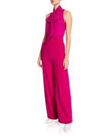 Diane von Furstenberg Virginie Crepe Open-Back Tie-Neck Sleeveless Jumpsuit at Neiman Marcus