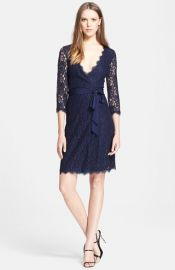Diane von Furstenberg and39Juliannaand39 Three Quarter Sleeve Lace Wrap Dress at Nordstrom