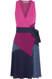 Diane von FurstenbergandnbspandnbspSady color-block jersey-crepe wrap dress at Net A Porter