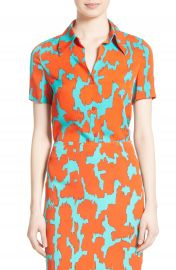Diane von Furstenburg Print Stretch Silk Shirt at Nordstrom