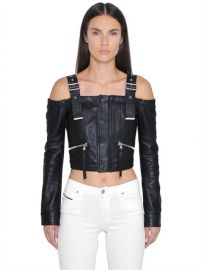 Diesel Black & Gold Off the Shoulders Cropped Leather Jacket at Luisaviaroma
