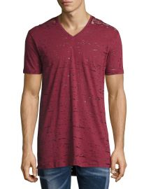 Diesel Garment-Wash Burnout V-Neck T-Shirt  Red   Neiman Marcus at Neiman Marcus