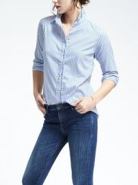 Dillon-Fit Striped Ruffle Placket Shirt at Banana Republic