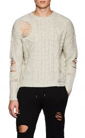 Distressed Cable-Knit Wool-Blend Sweater NSF at Barneys