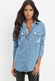 Distressed Denim Shirt  Forever 21 - 2000140608 at Forever 21