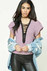 Distressed Lace-Up Boxy Top by Forever 21 at Forever 21