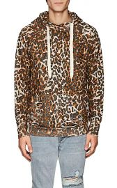 Distressed Leopard-Print Cotton Hoodie at Barneys