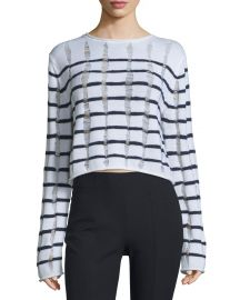 Distressed Striped Boxy Sweater by T by Alexander Wang at Neiman Marcus