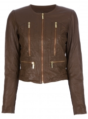 Distressed leather jacket by Michael Kors at Farfetch