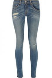 Distressed mid-rise skinny jeans at The Outnet
