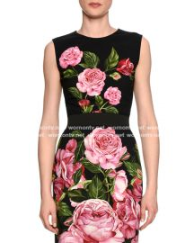 Rose-Print Crewneck Shell at Neimanmarcus