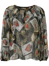 Dolce  amp  Gabbana Playing Cards Print Blouse at Farfetch