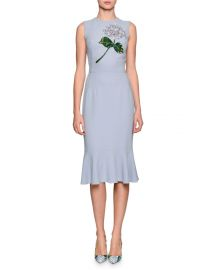 Dolce and Gabbana Hydrangea Embellished Flounce-Hem Dress at Neiman Marcus