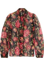 Dolce   Gabbana   Rose pussy-bow printed silk-chiffon blouse at Net A Porter