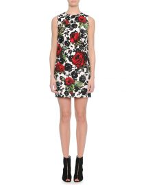 Dolce   Gabbana Rose-Print Narrow Shift Dress at Neiman Marcus