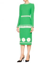 Dolce & Gabbana DLong-Sleeve Daisy Wool-Crepe Dress at Bergdorf Goodman