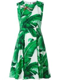 Dolce  amp  Gabbana Banana Leaf Print Dress at Farfetch