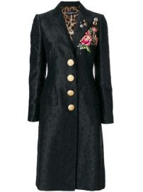 Dolce  amp  Gabbana Embroidered Rose Patch Jacquard Coat - Farfetch at Farfetch
