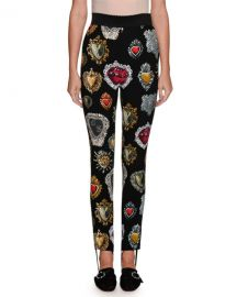 Dolce  amp  Gabbana Heart-Print High-Waist Stirrup Leggings   Neiman at Neiman Marcus