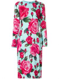 Dolce  amp  Gabbana Large Rose Longsleeved Shift Dress at Farfetch